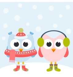 Cute owls and snowflakes vector image