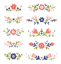 Decorative colorful floral compositions set 2 vector image
