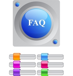 FAQ color round button vector image vector image