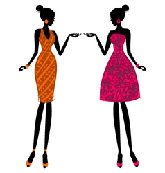 fashion girls in summer dresses vector image vector image