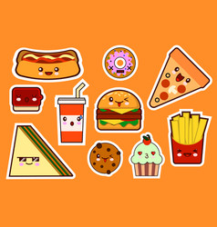 Fastfood fashion cartoon kawaii stickers vector