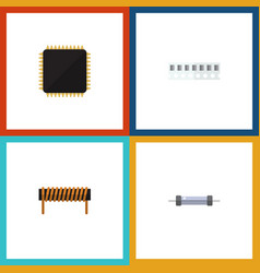 Flat icon appliance set of resistor memory vector