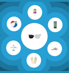 Flat icon beach set of aircraft moisturizer boat vector
