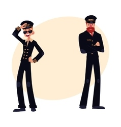 Full length portraits of two pilots in black vector