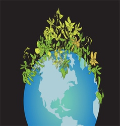 Globe and plant vector