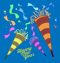Happy new year eve celebration trumpet confetti vector