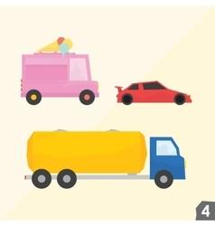 Ice cream van sport car gasoline truck vector