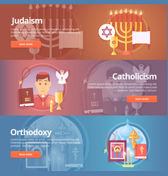 Judaism catholicism orthodoxy christianic vector