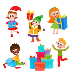 kids children getting christmas birthday presents vector image