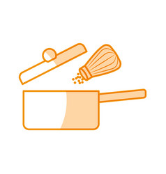 Kitchen pot with salt shaker vector