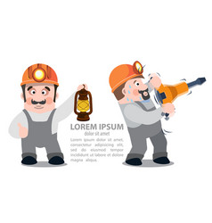 Miners with a jackhammer and a kerosene lamp vector