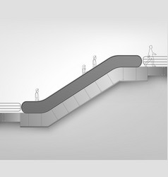 modern escalator on white background vector image