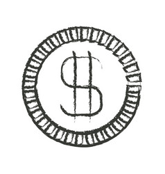 monochrome blurred silhouette of coin with money vector image vector image