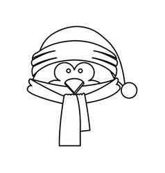 Monochrome contour of penguin face with scarf and vector