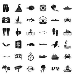 Oceanic icons set simple style vector