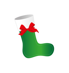 Ornament christmas boots with red ribbon bow vector