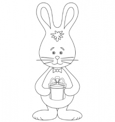 rabbit with a gift contour vector image vector image