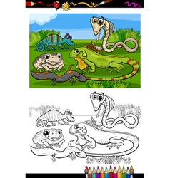 reptiles and amphibians coloring book vector image vector image