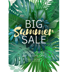 Sale vertical banner poster with palm leaves vector