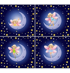 Scenes with fairy and stars vector