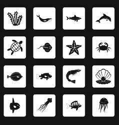 sea animals icons set squares vector image vector image