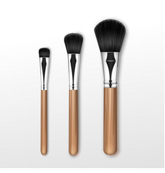 Set of black makeup powder brush isolated vector