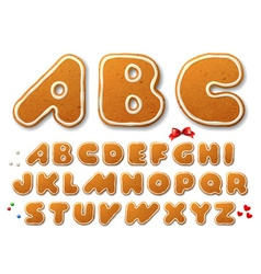 Set of letters in shape of a christmas gingerbread vector