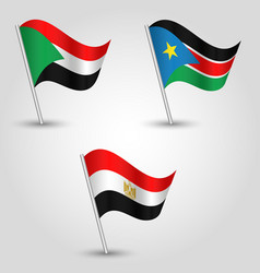 Set of waving flags states of african nile valley vector