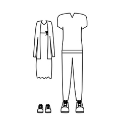 Silhouette with casual clothes and dress vector