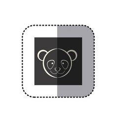 Sticker of black background square with face of vector