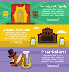 Theatre art banner horizonatal set flat style vector