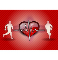 two runners on the health background vector image vector image