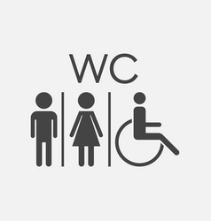 Wc toilet flat icon men and women sign for vector