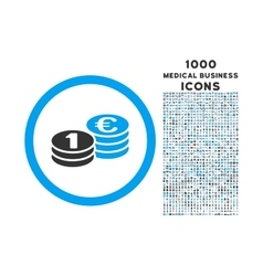 Euro coin columns rounded icon with 1000 bonus vector