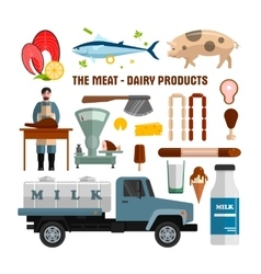 Meat and dairy products objects isolated on vector