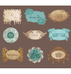 Vintage Paper Wedding Frame collection vector image