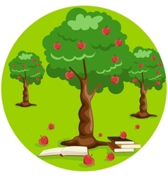 apple tree with red apples and stack of books vector image