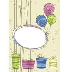 Celebration card with balloons and gifts vector image