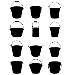 silhouettes of garden buckets vector image