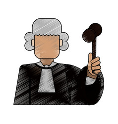 Color blurred stripe of faceless man judge with a vector
