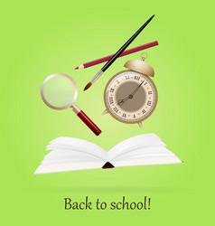 Back to school image with book alarm pen art vector