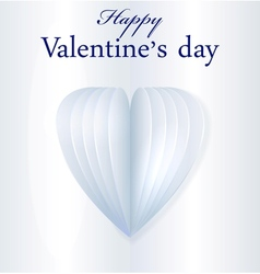 Blue paper Valentines heart vector image