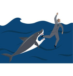 Businessman and shark vector image
