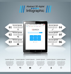 3d infographic smartphone tablet icon vector image vector image