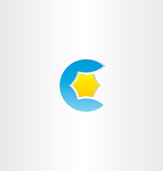 Water and star blue letter c logo vector