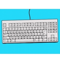 Computer keyboard hand drawn pop art style vector