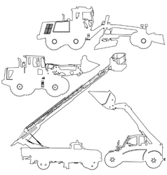 Set of silhouettes construction machinery vector