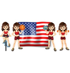 American flag and woman athlete vector