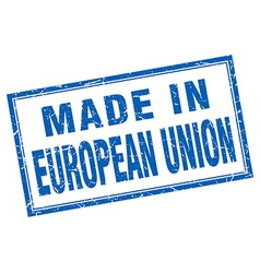 European union blue square grunge made in stamp vector
