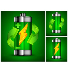 Battery recycling green background 10 v vector